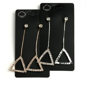 Long Triangle Earrings, Rhinestone Dangle Earrings